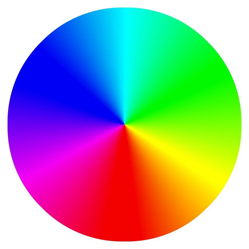 Een ronde schijf met alle kleuren erin