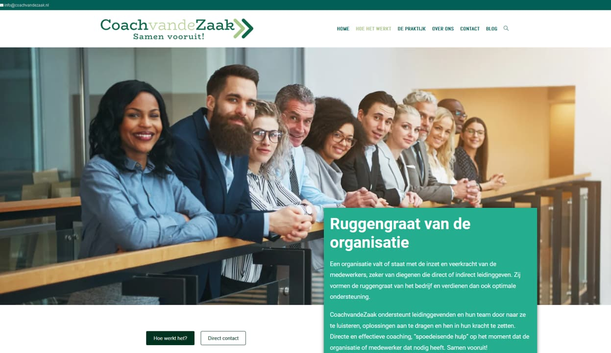 YourWebPro portfolio - project website van CoachvandeZaak