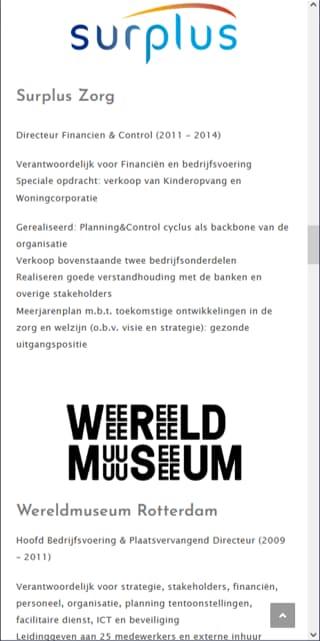 YourWebPro portfolio - project KesselManagement website