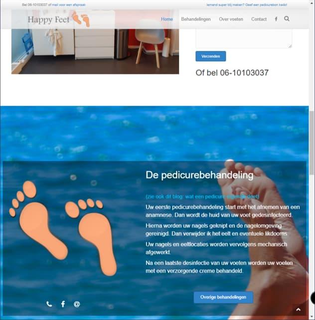 YourWebPro portfolio - project PedicurePraktijkHappyFeet