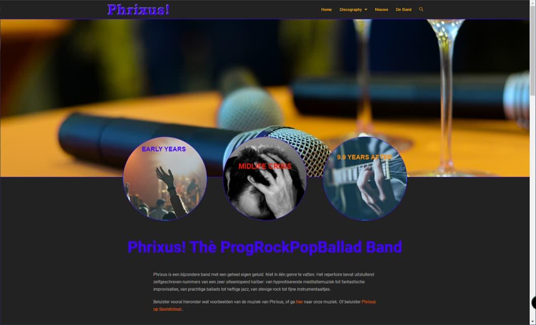 YourWebPro portfolio - project website van de band Phrixus