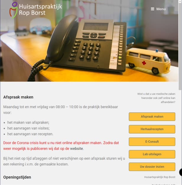 YourWebPro portfolio - project Huisartspraktijk Rop Borst