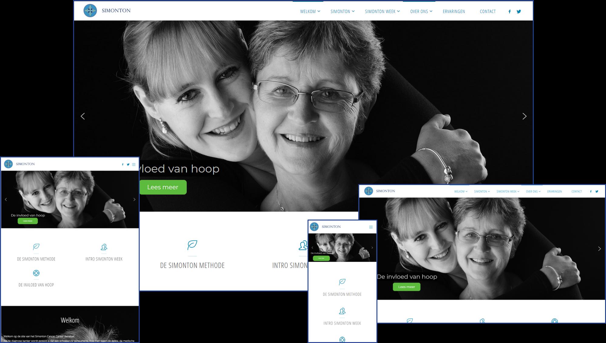 Eerdere website van Simonton Cancer Center NL, ook ontworpen en gebouwd  door YourWebPro