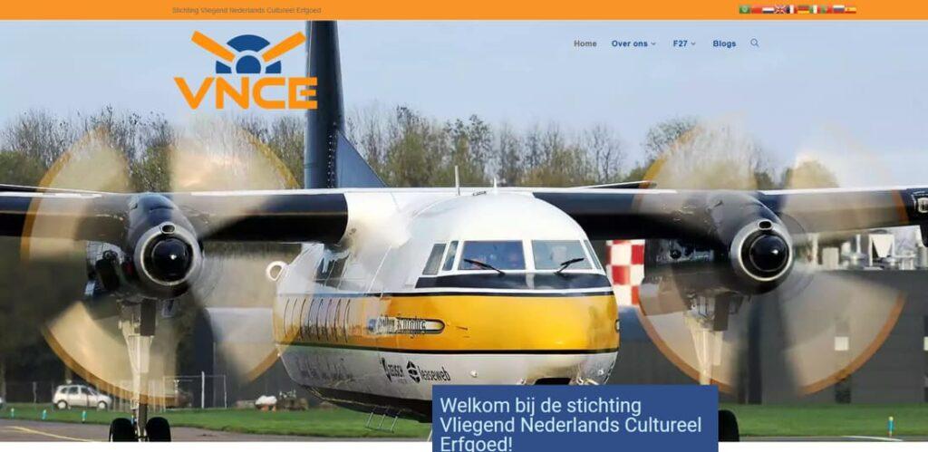 YourWebPro portfolio - de website van de stichting Vliegend Nederlands Cultureel Erfgoed, de VNCE